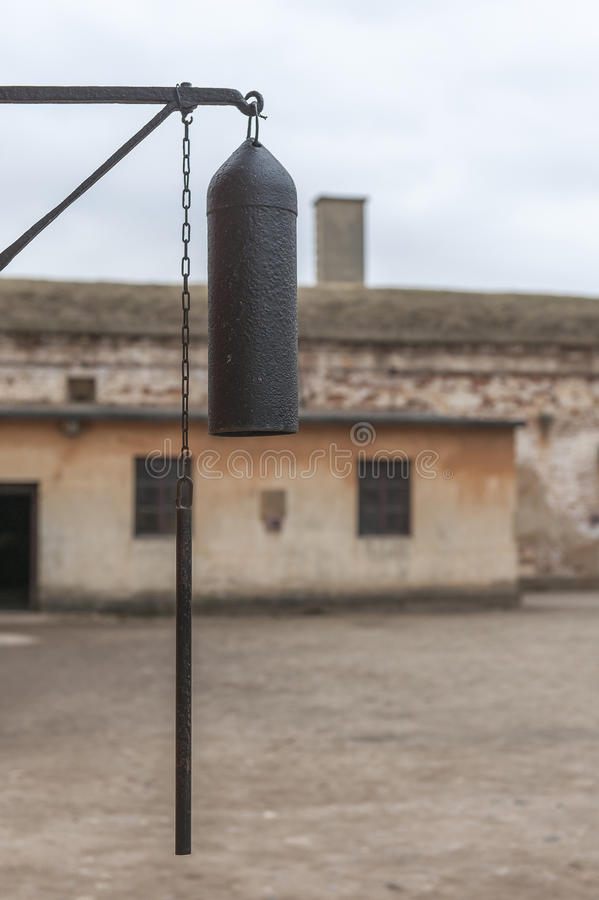 Terezin memorial, Czech Republic. National Memorial Cemetery in Terezin. Memorial to the Holocaust. Bell at the central place of the prison at the small fortress stock photography