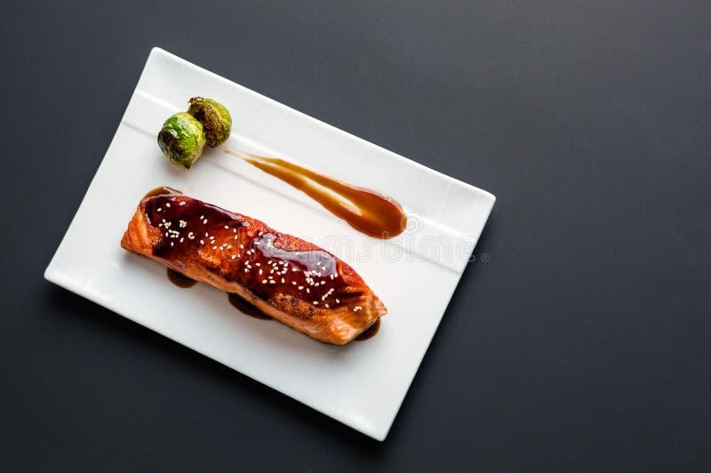 Teriyaki三文鱼从上面 免版税库存照片