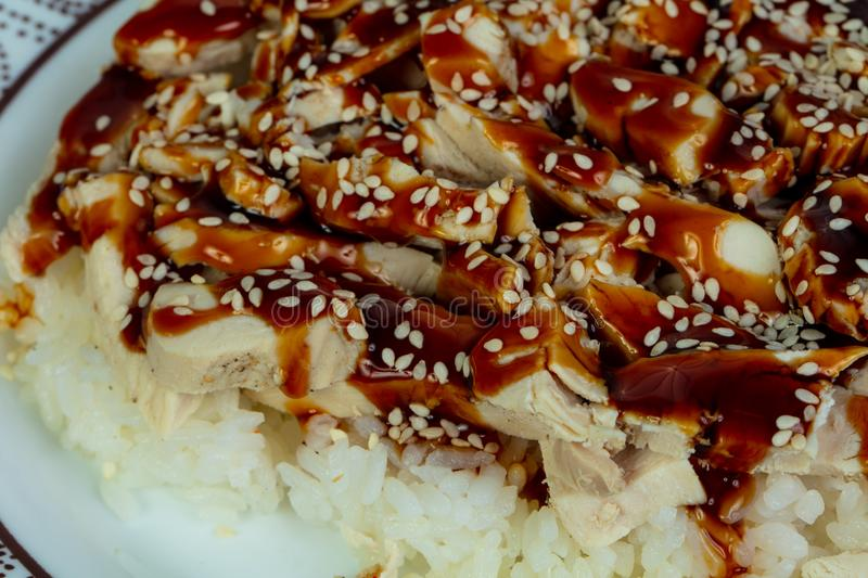 Teriyaki chicken with rice stock images
