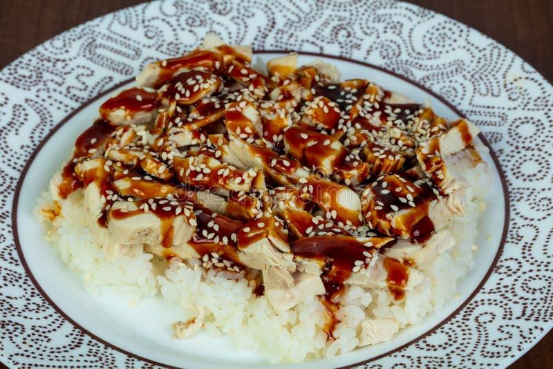 Teriyaki chicken with rice stock photo