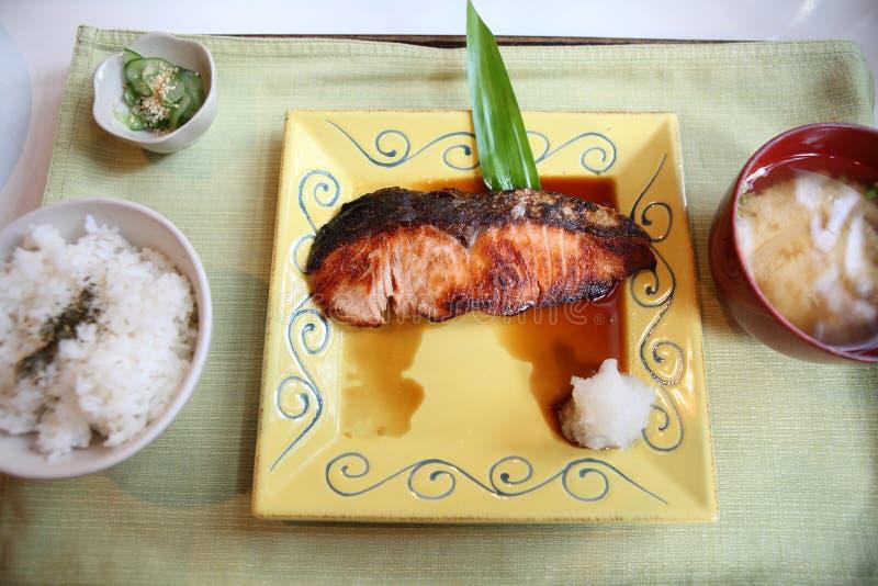 Teriyaki de color salmón fotografía de archivo libre de regalías