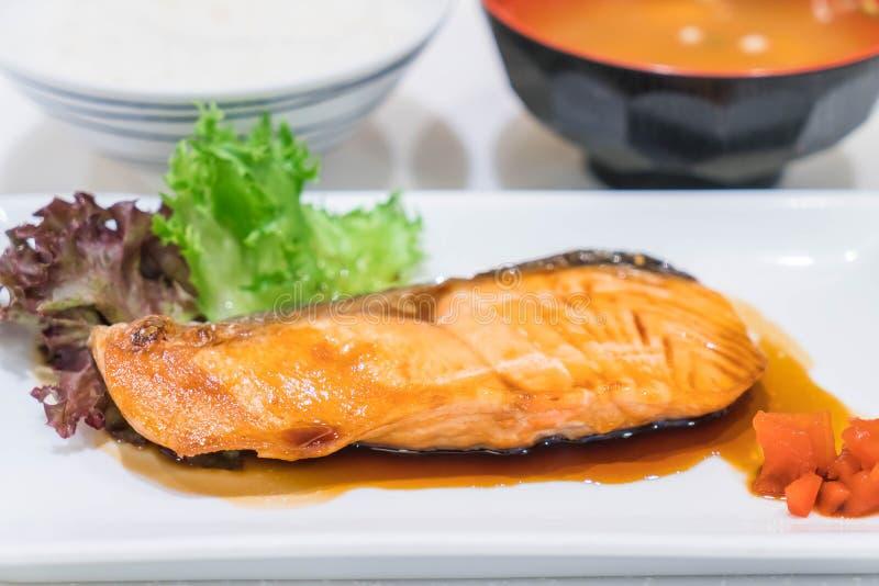 Teriyaki de color salmón foto de archivo libre de regalías