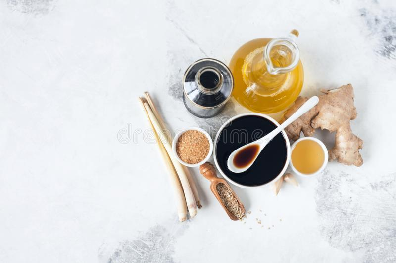 Teriyaki sauce. Ingredients for lemongrass wand sauce, ginger, honey, sugar, soy sauce, garlic sesame seeds broth stock photos