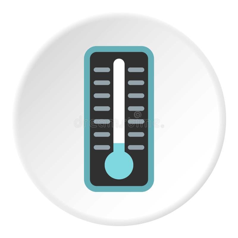 Termómetro con el icono de la baja temperatura, estilo plano ilustración del vector