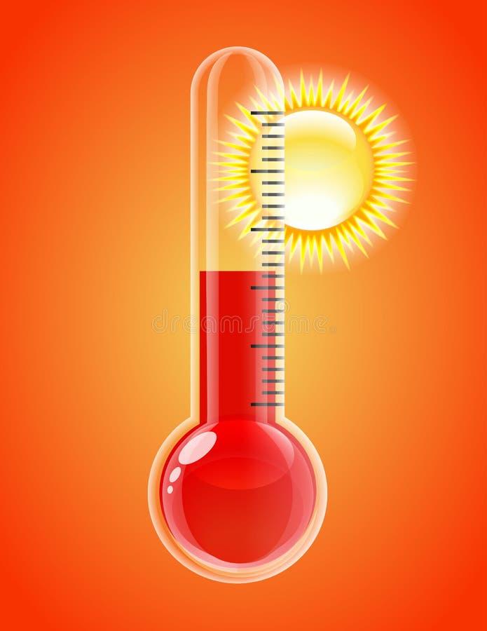 Termómetro con el sol. Tiempo caliente. ilustración del vector
