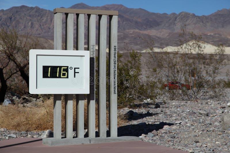 Termómetro de Death Valley en 116 F fotografía de archivo libre de regalías