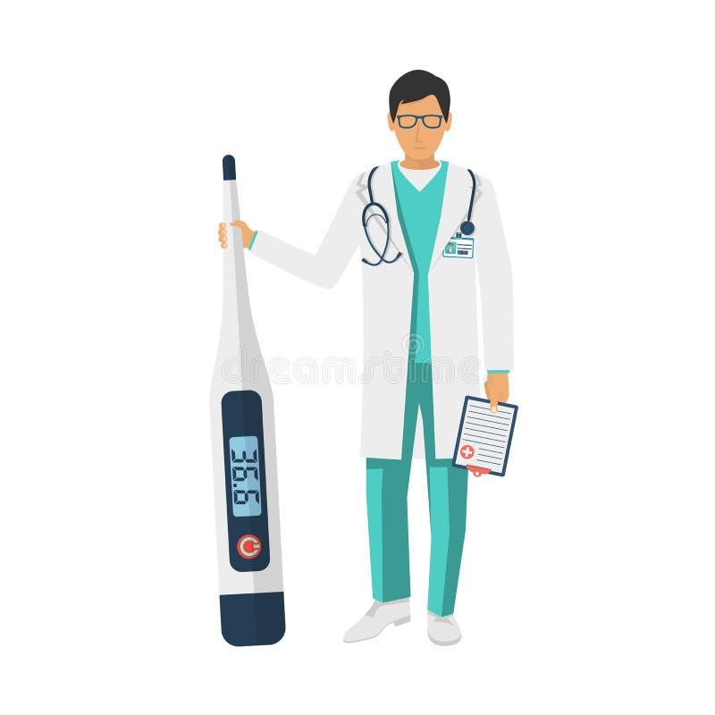 Termómetro digital médico del control del doctor a disposición stock de ilustración