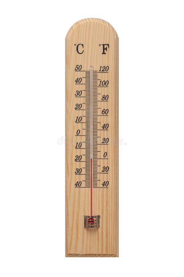 Termómetro, termómetro en base de madera con la escala cent3igrada Icono para su dise?o Temperatura más de 0 grados Fahrenheit imagen de archivo