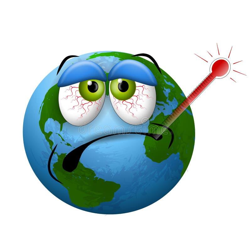 Termómetro enfermo de la tierra del planeta libre illustration