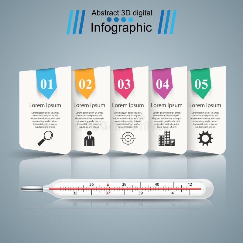 Termómetro, icono de la salud Negocio Infographic ilustración del vector