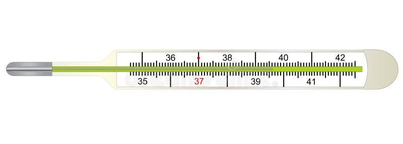 Termómetro médico para medir temperatura del cuerpo humano libre illustration