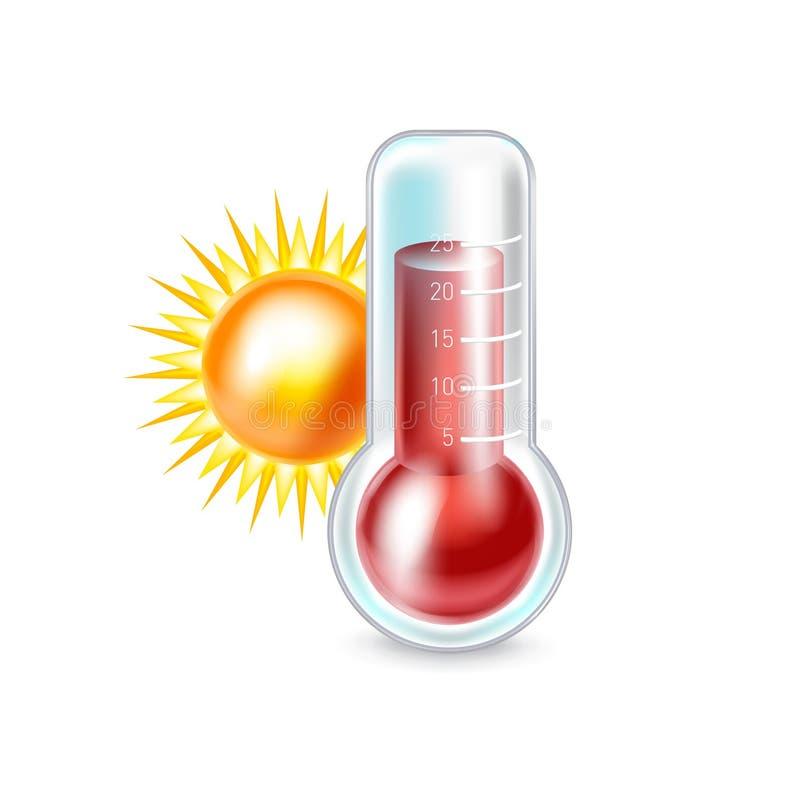 Termómetro y sol aislados stock de ilustración