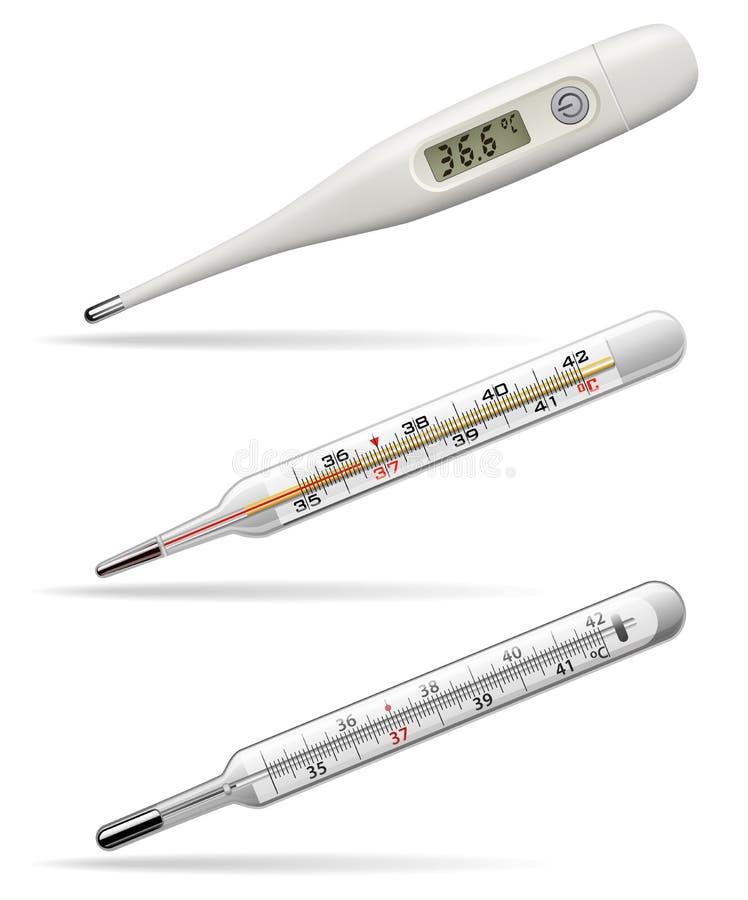 Termómetros médicos Termómetros de Digitaces, del alcohol y de mercurio para medir la temperatura del cuerpo humano Vector ilustración del vector
