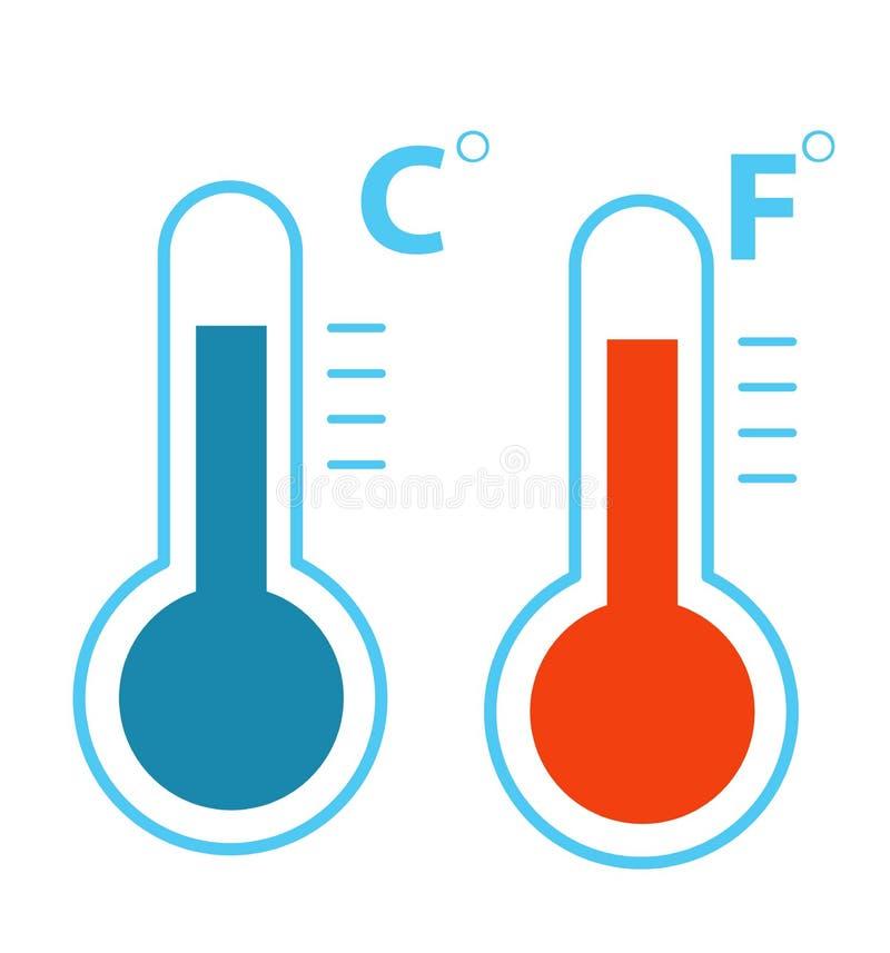 Termómetros planos de celsius y de Fahrenheit fríos y vector del icono de la temperatura del calor ilustración del vector