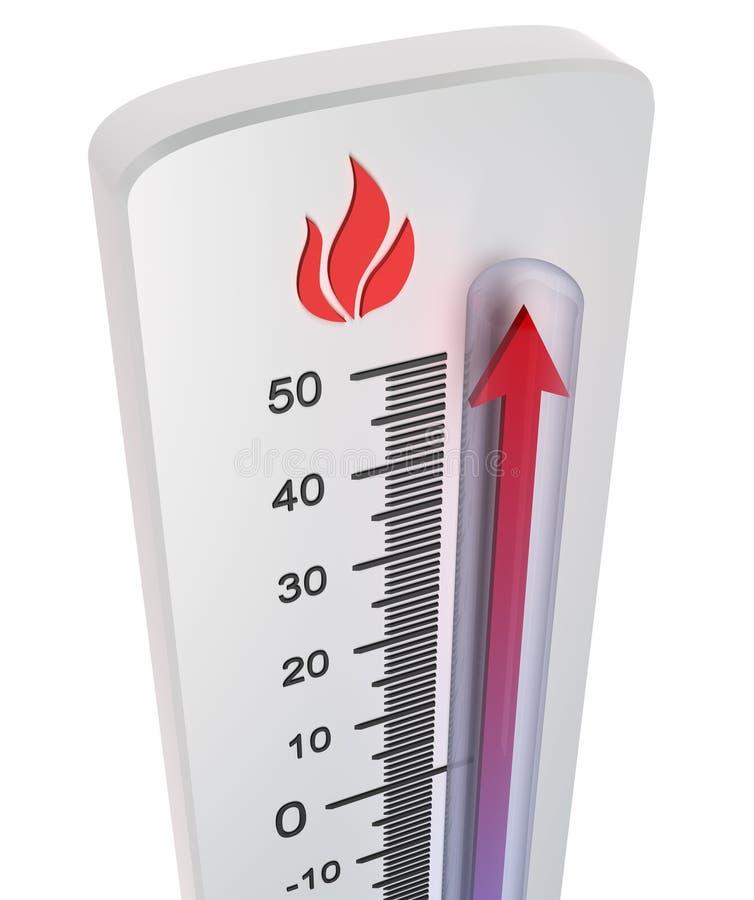 Termômetro: ascensão da temperatura ilustração royalty free