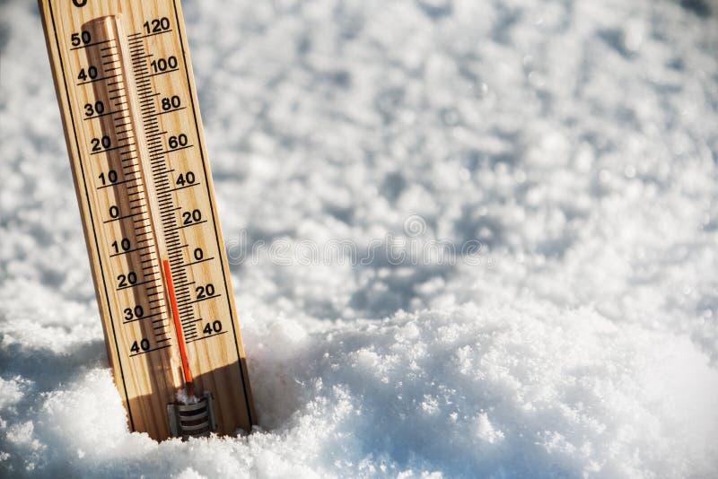 Termômetro com uma temperatura acima de zero imagens de stock royalty free