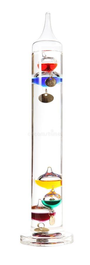 Termômetro de Galileo no branco fotografia de stock royalty free