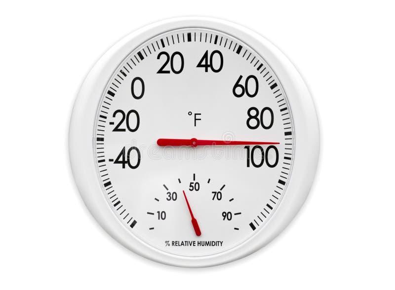 Termômetro/higrómetro ao ar livre imagem de stock