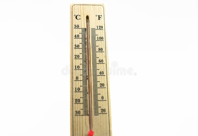 Termômetro no conceito quente mesmo do dia, o de alta temperatura ou o morno do ambiente fotografia de stock