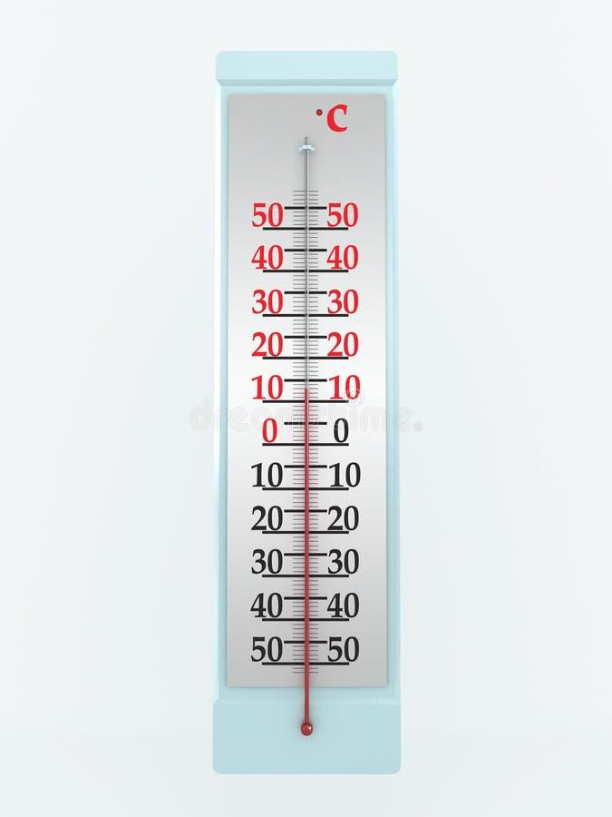 Termômetro no fundo branco. imagem 3D ilustração do vetor