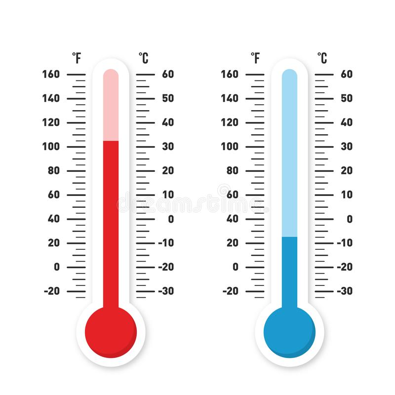 Termômetros que medem o calor e a temperatura fria Termômetros vermelhos e azuis com a escala de Celsius e de Fahrenheit ilustração do vetor