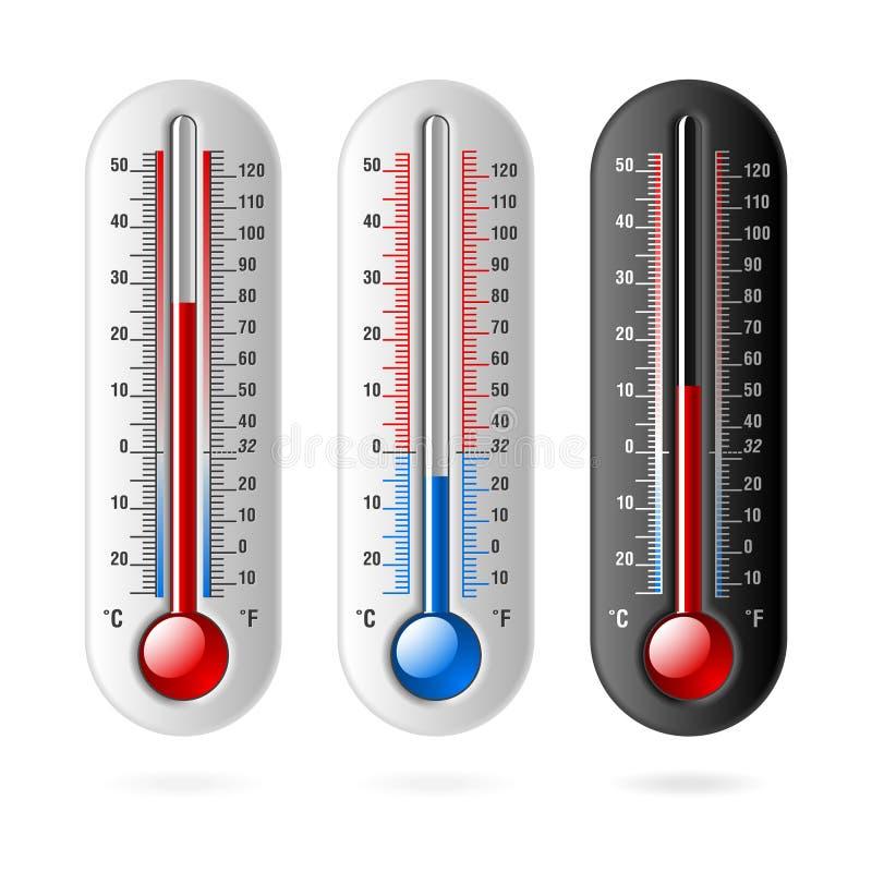 Termômetros. Vetor. Celsius e Fahrenheit. ilustração royalty free