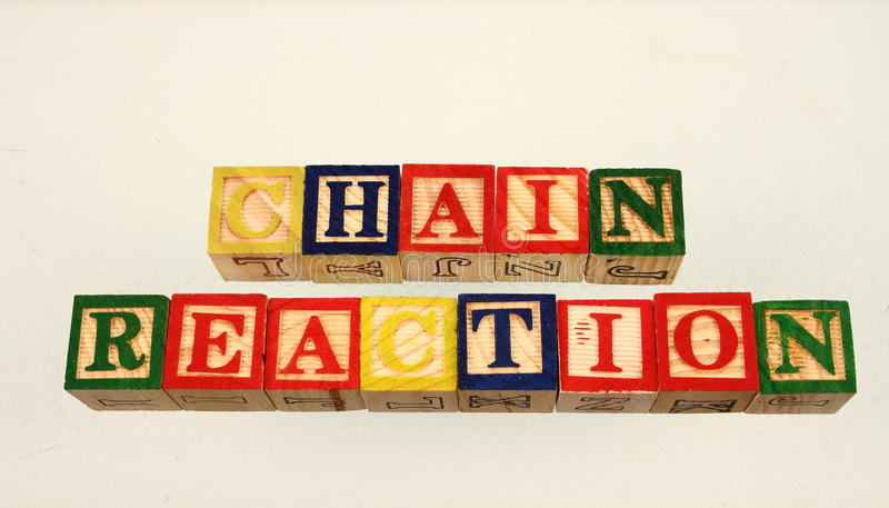 The term chain reaction. Displayed visually on a white background using colorful wooden toy blocks stock photos