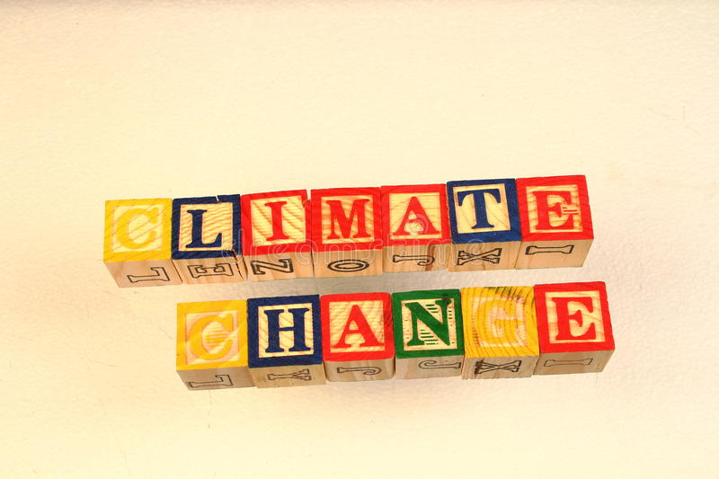 The term climate change. Visually displayed using colorful wooden blocks stock photo