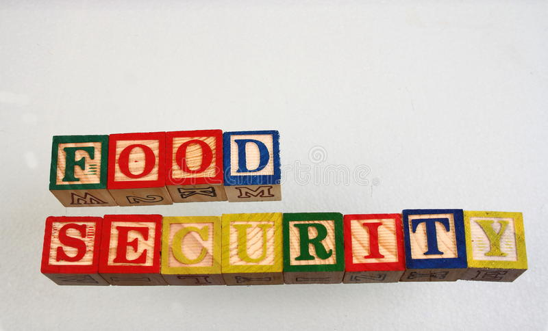 The term food security. Displayed visually using colorful wooden blocks on a white background in landscape format stock photography