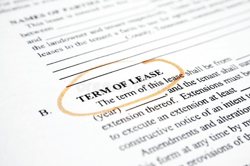 Term of lease. Close up of contract - term of use stock photos