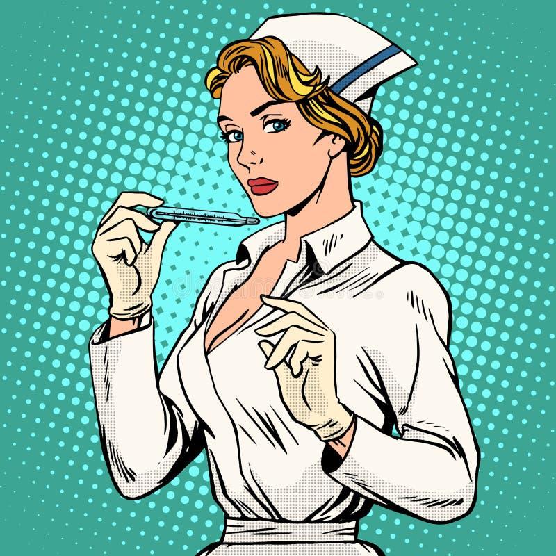 Termômetro de alta temperatura da enfermeira da doença ilustração do vetor