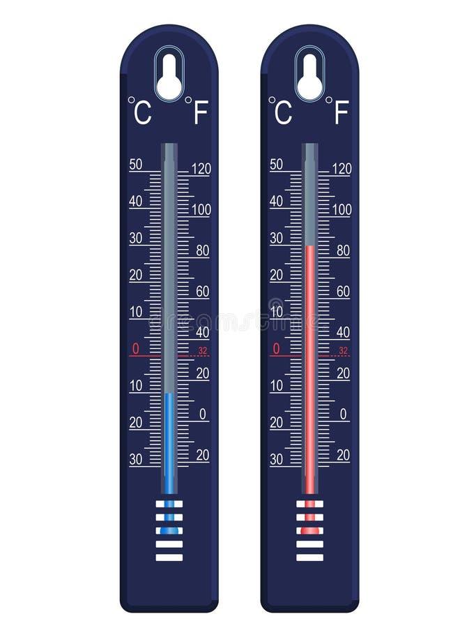 Termômetro do vetor, frio e quente ilustração royalty free