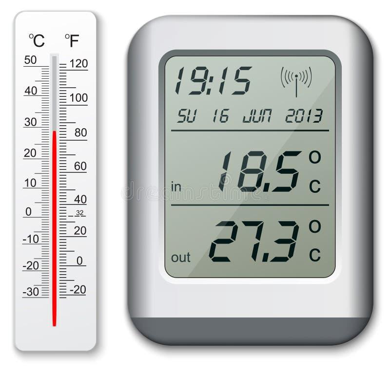 Termômetro normal e digital ilustração stock