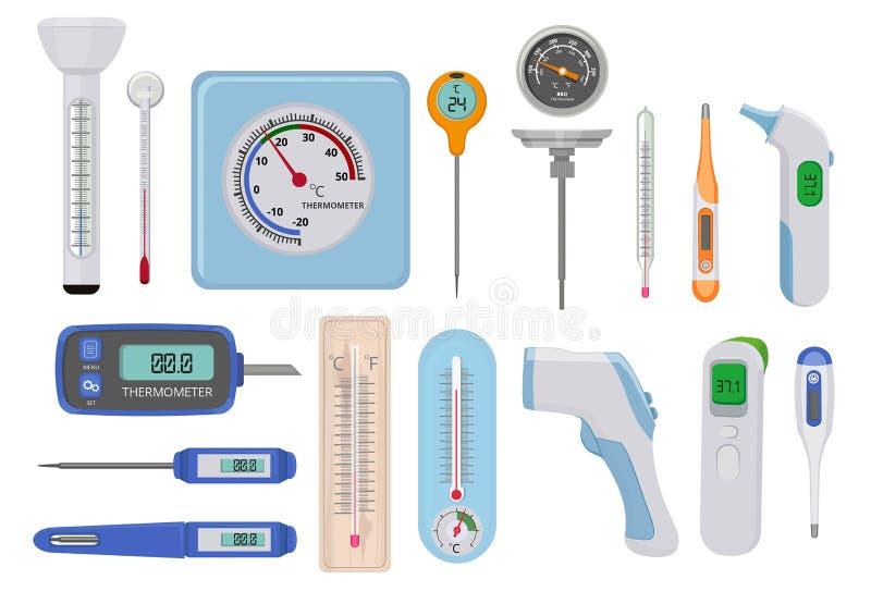 term?metros Contadores de la medida del vector de los indicadores de la temperatura del hospital diversos del cielo y tierra médi libre illustration