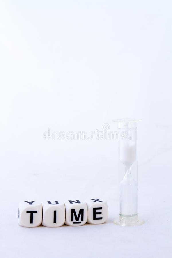 The term time on a white background - concept image stock photo