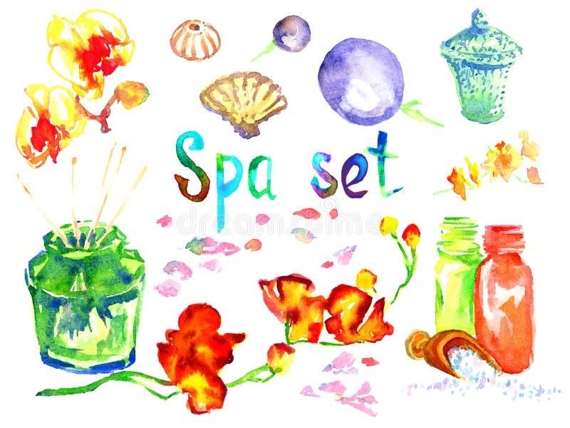 Termas ajustados: as velas scented, aroma lubrificam, shell do mar, pedras do basalto, tiros de bambu, flores ilustração royalty free