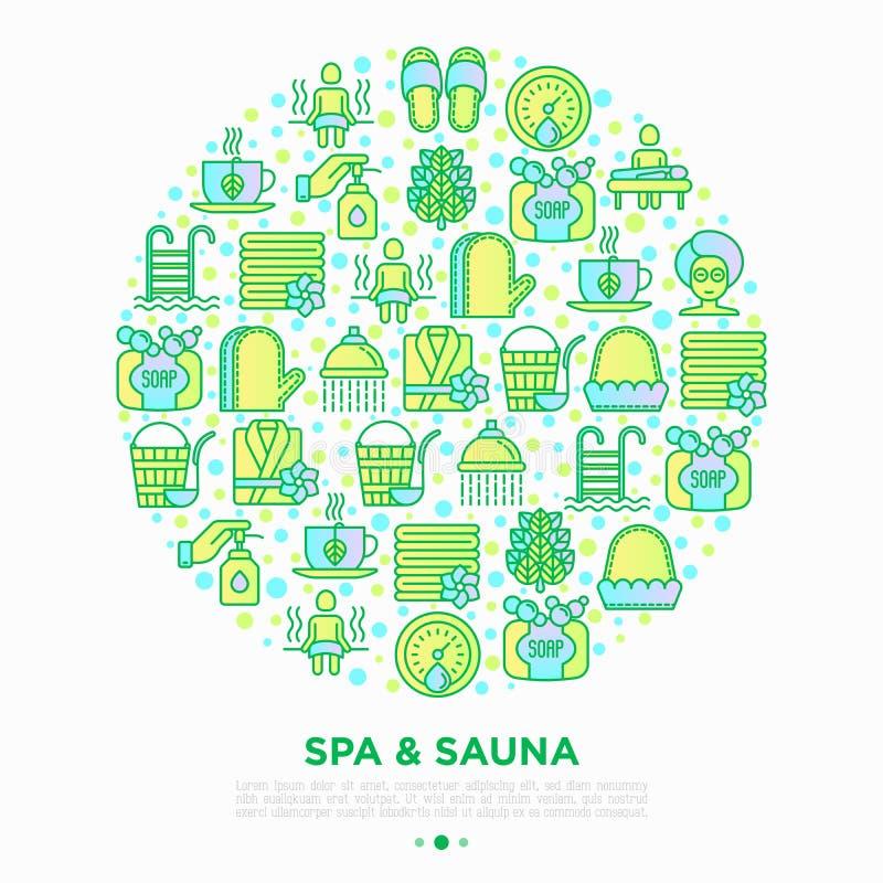Termas & conceito da sauna no círculo com linha fina ícones: óleo da massagem, toalhas, sala de vapor, chuveiro, sabão, balde e c ilustração do vetor