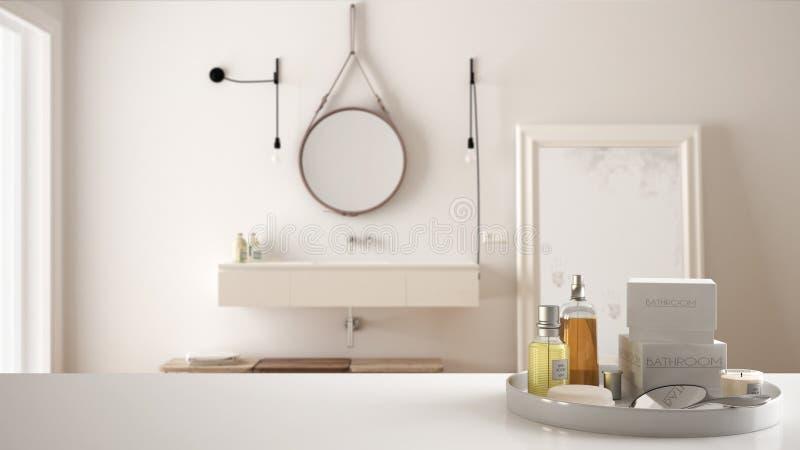 Termas, conceito do banheiro do hotel Tampo da mesa ou prateleira branca com banho dos acessórios, arti'culos de tocador, sobre o fotografia de stock royalty free
