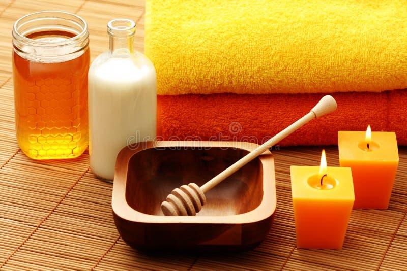Termas do mel e do leite fotografia de stock