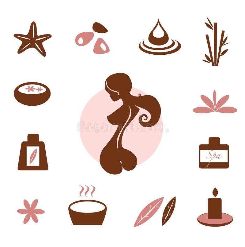 Termas e coleção do ícone do wellness - marrom