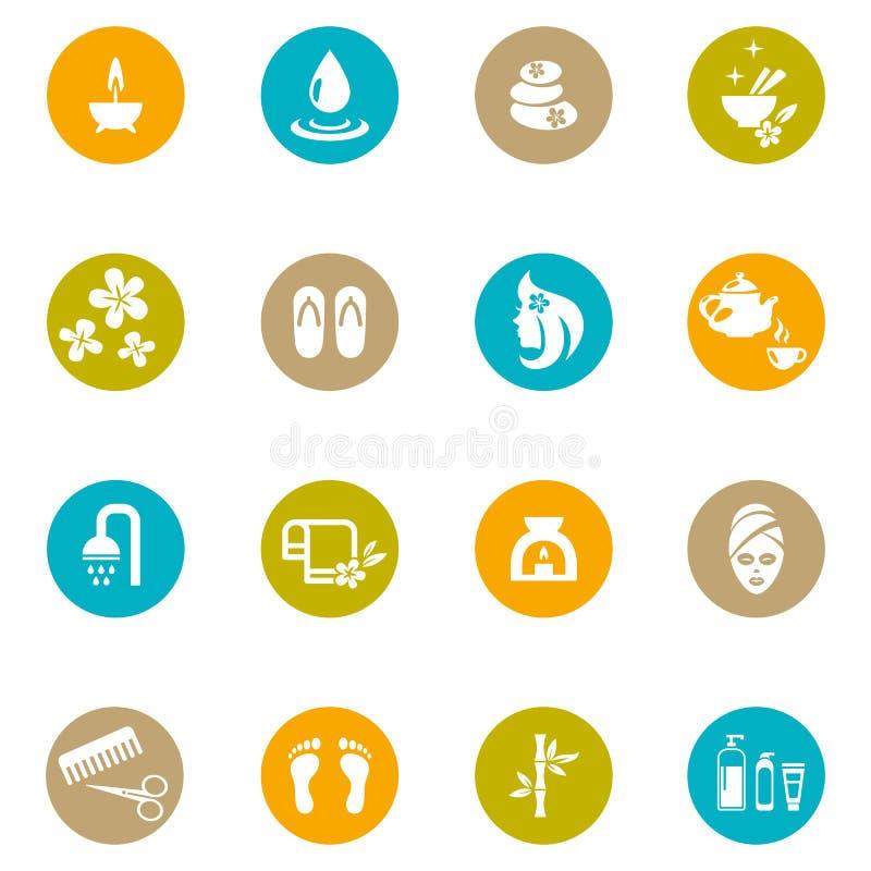 Termas e Zen Icons coloridos no branco ilustração stock