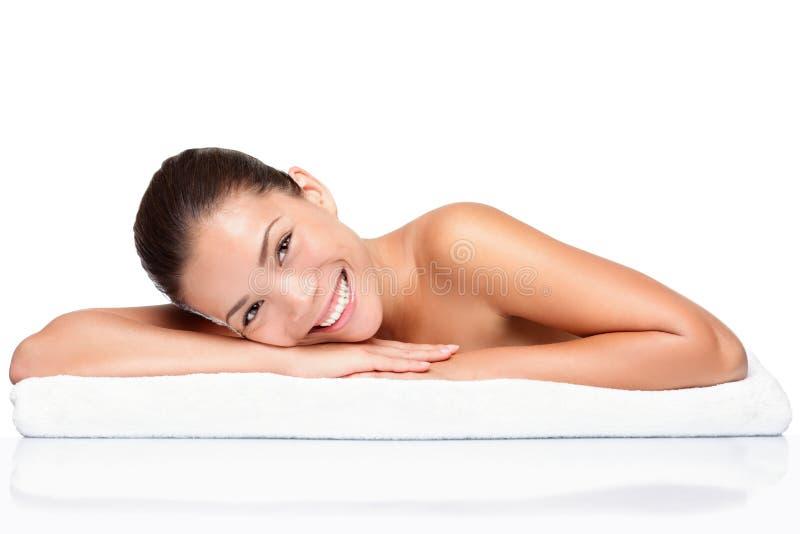 Termas - mulher da beleza do skincare da face imagens de stock