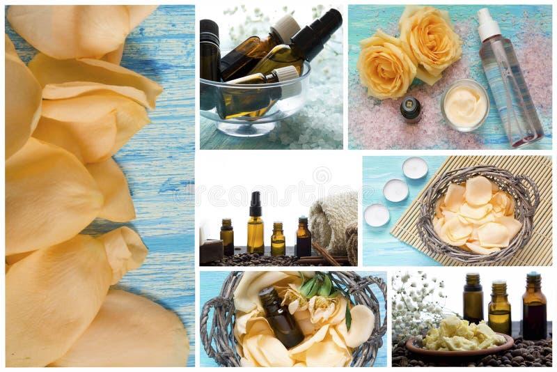 Termas-séries Colagem de produtos de relaxamento Sal do mar, óleos essenciais, pétalas da flor fotografia de stock