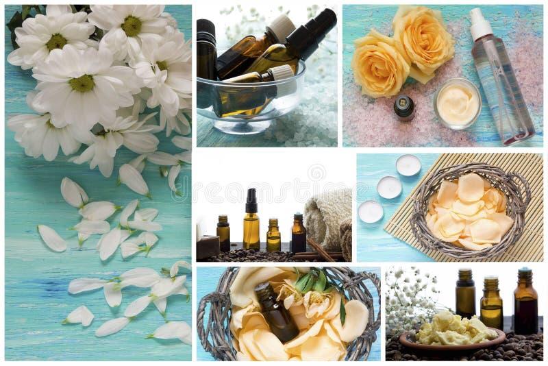 Termas-séries Colagem de produtos de relaxamento Sal do mar, óleos essenciais, pétalas da flor foto de stock royalty free