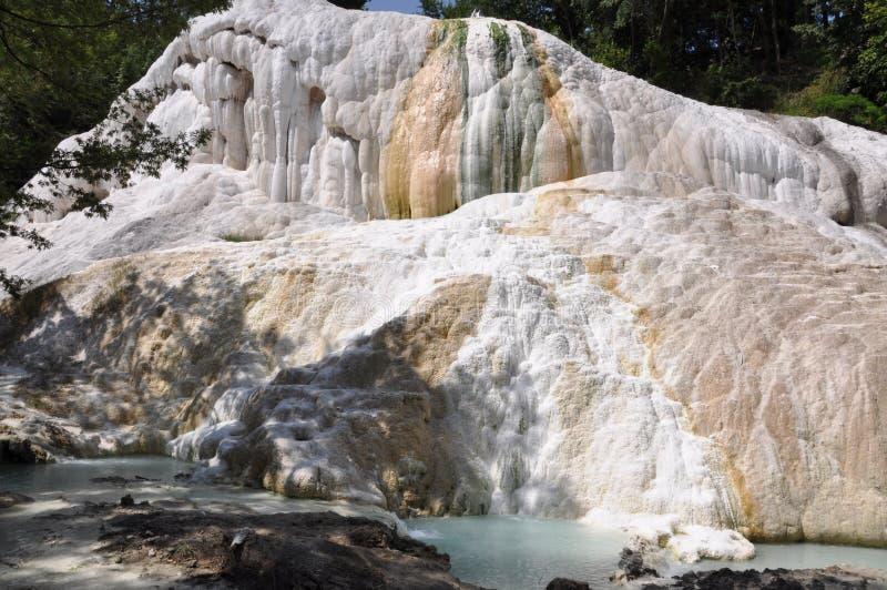 Terme Сан Филиппо, большинств эффектные термальные области в Тоскане, в провинции Сиены и внутренности парк долины Orcia стоковая фотография