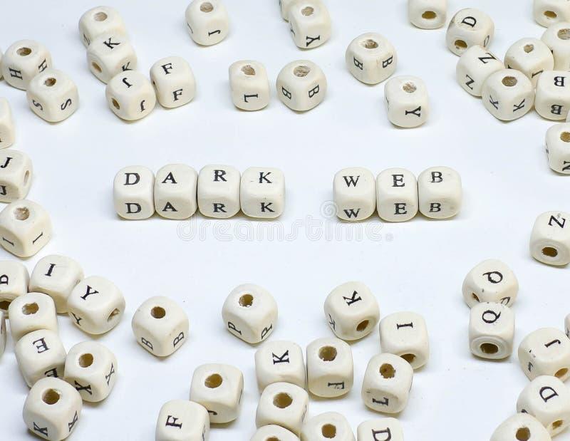 Terme de commercialisation en ligne sur le Web foncé en bois d'ABC de fond blanc photographie stock libre de droits