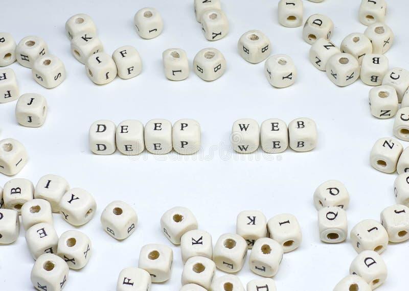 Terme de commercialisation en ligne sur le Web profond en bois d'ABC de fond blanc images stock