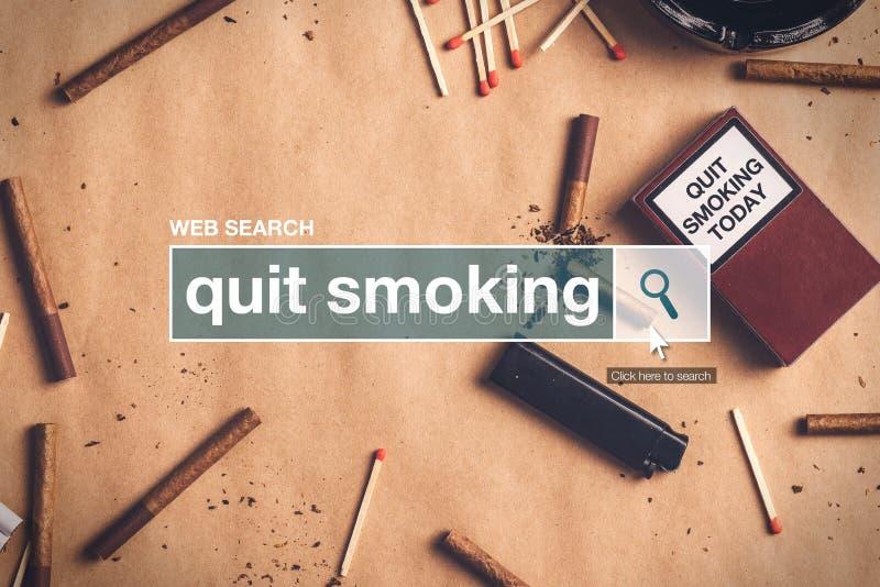 Terme de tabagisme de glossaire de boîte de recherche de Web Quit photos stock
