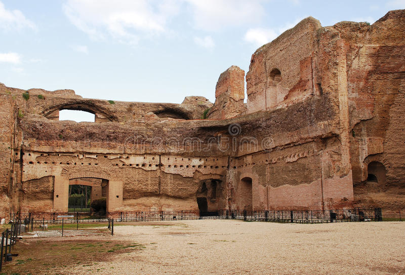 Terme di Caracalla. The Terme di Caracalla Roman Baths in Rome, Italy. Built in the 3rd century AD to include a library and gymnasiums in addition to the baths stock photography