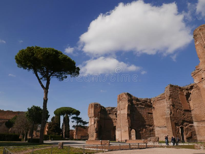 Terme di Caracalla ancient Roman Ruins in Rome royalty free stock photo